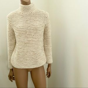 INC beige thick turtleneck wool blend sweater S